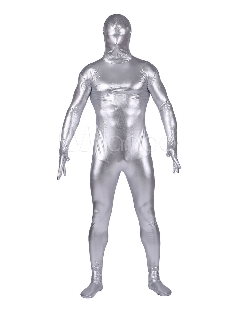 Silvery Shiny Metallic Zentai Suit Halloween Costume Cosplay  Halloween