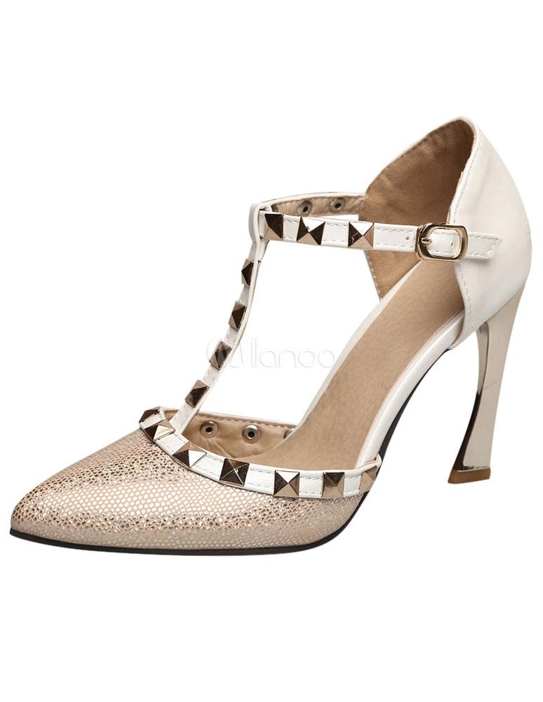 Sandales multicolor Rivets bout pointu PU talons pour femmes