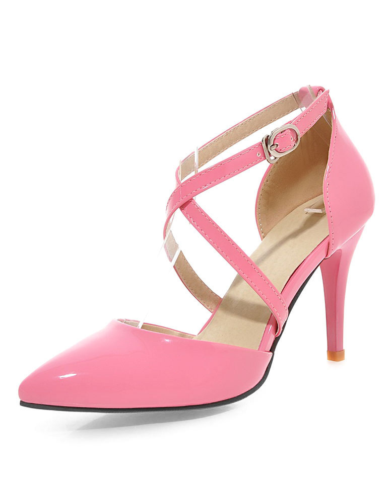 Milanoo / Apricot High Heels Pointed Toe Criss-Cross Women's Solid Color Pumps