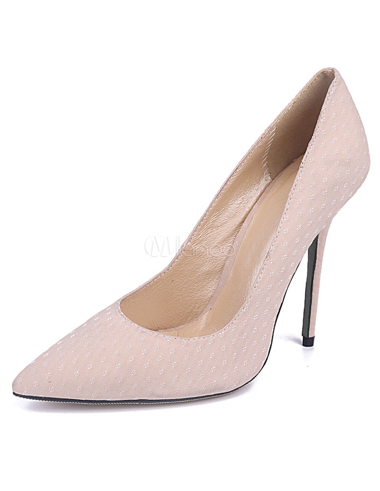 ee07f5f3c1e4 Light Pink Satin Pointy Toe Heels for Women - Milanoo.com