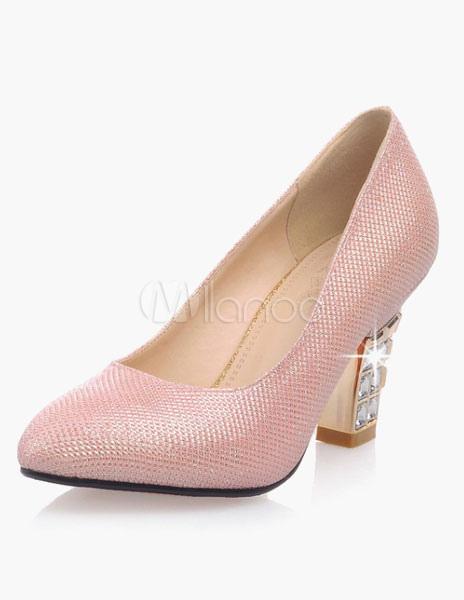 Light Pink Glitter Heels For Women - Milanoo.com 83342eed9