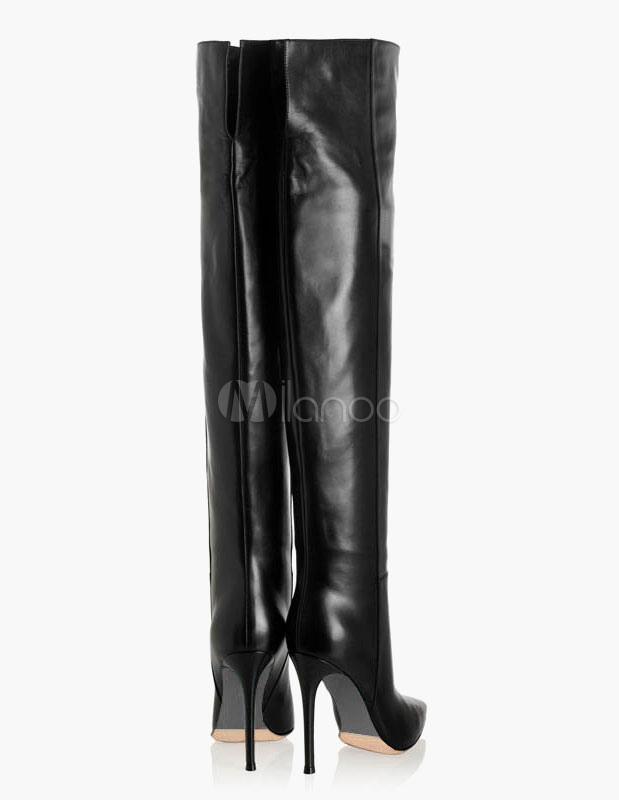 Dedo del pie acentuado estilo PU botas Overknee de cremallera pZpA7I