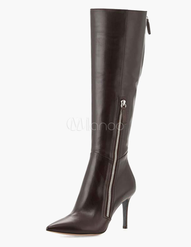 Pointed Toe Stiletto Heel Zipper PU Leather Knee Length Boots