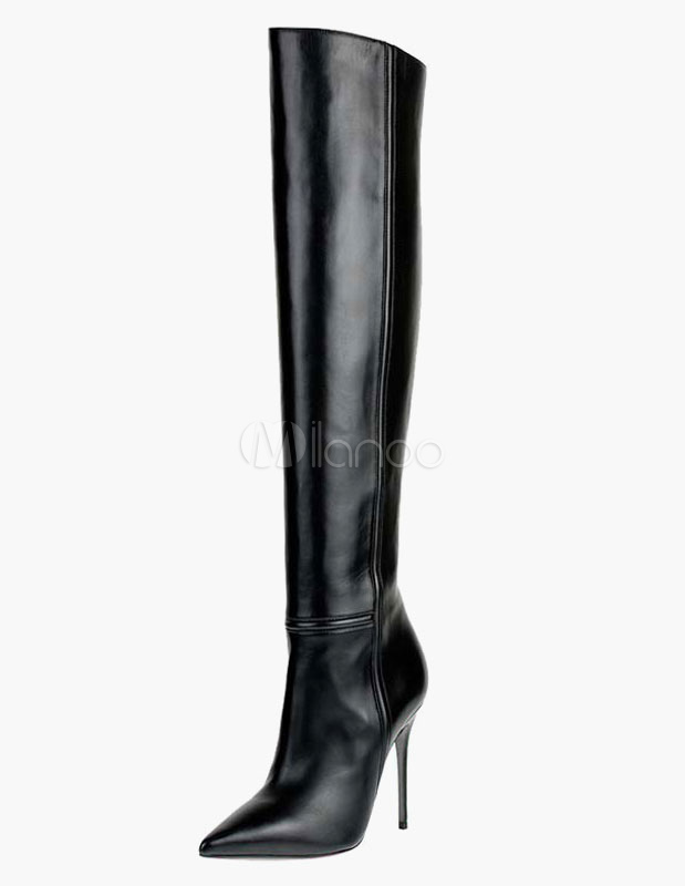 Thigh High Boots Sexy Pointed Toe PU Leather Over Knee Boots