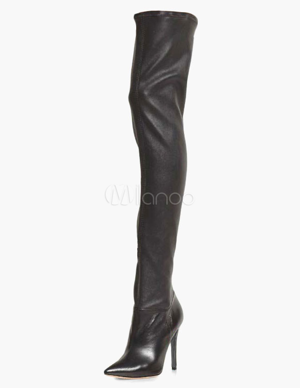 Pointed Toe PU Leather Over The Knee Boots