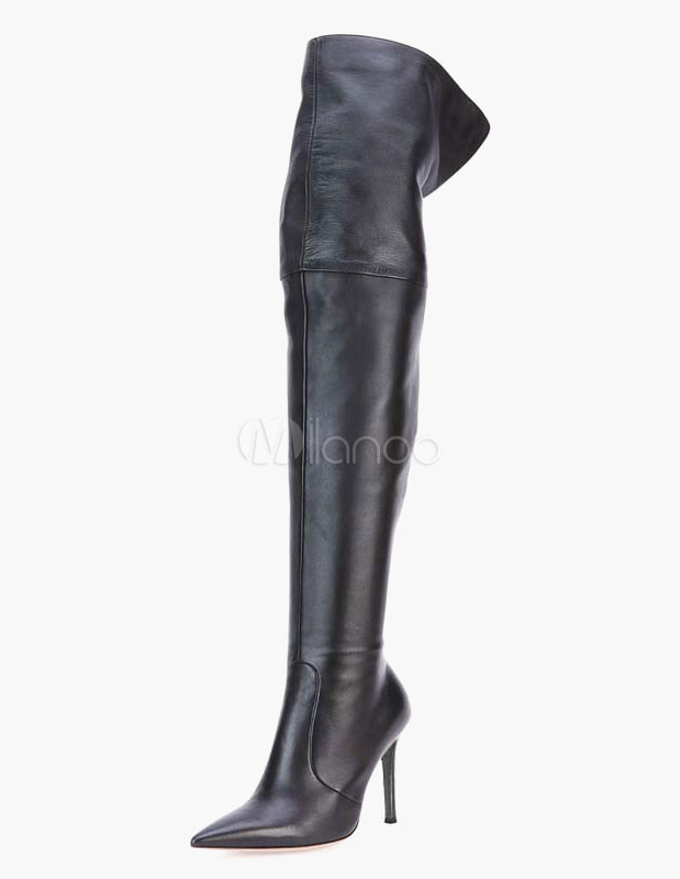Pointed Toe PU Leather Overknee Boots