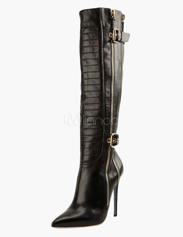 Pointed Toe Stiletto Heel Buckle Knee Length Zipper Boots