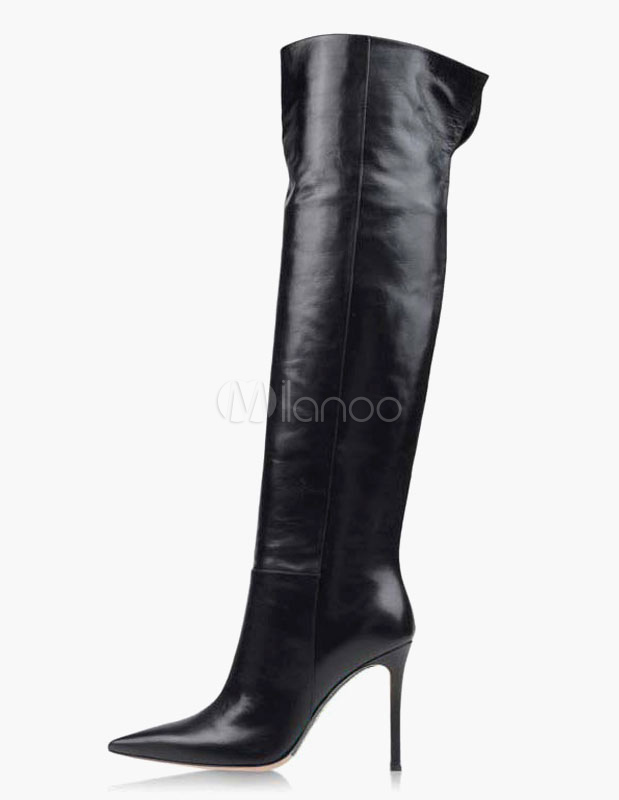 PU Leather Pointed Toe Women's Overknee Zipper Boots