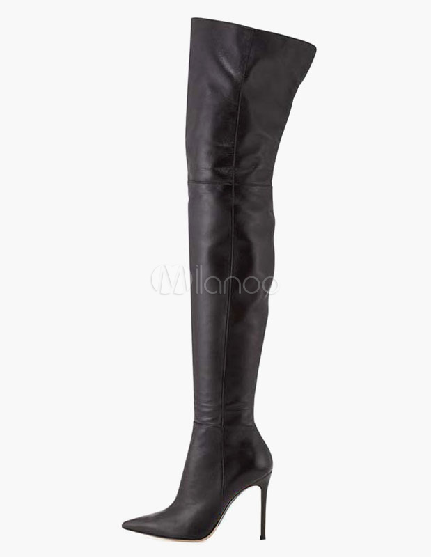 Sexy Pointed Toe PU Leather Overknee Boots