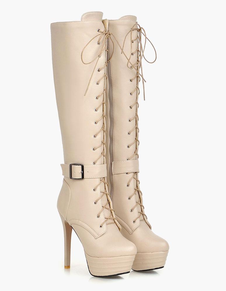 Patentes PU plataforma botas de rodilla longitud para mujeres 4UwRTvgl