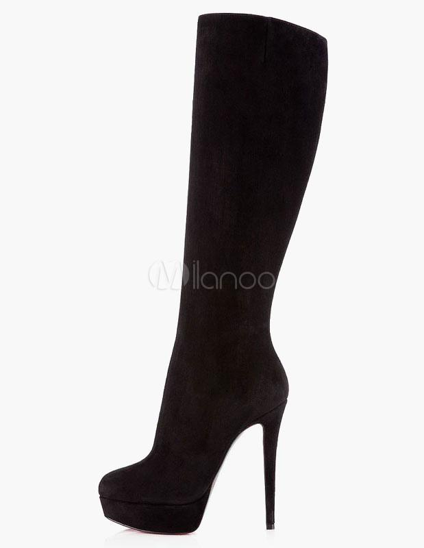 fdabc66dd5 Botas 2019 De Mulheres Camurça Sapatos De Salto Alto Plataforma Dedo Do Pé  Apontado Botas De ...