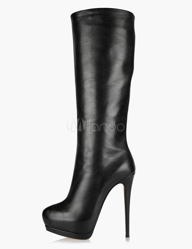 Round Toe Stiletto Heel Platform PU Leather Women's Knee Length Boots