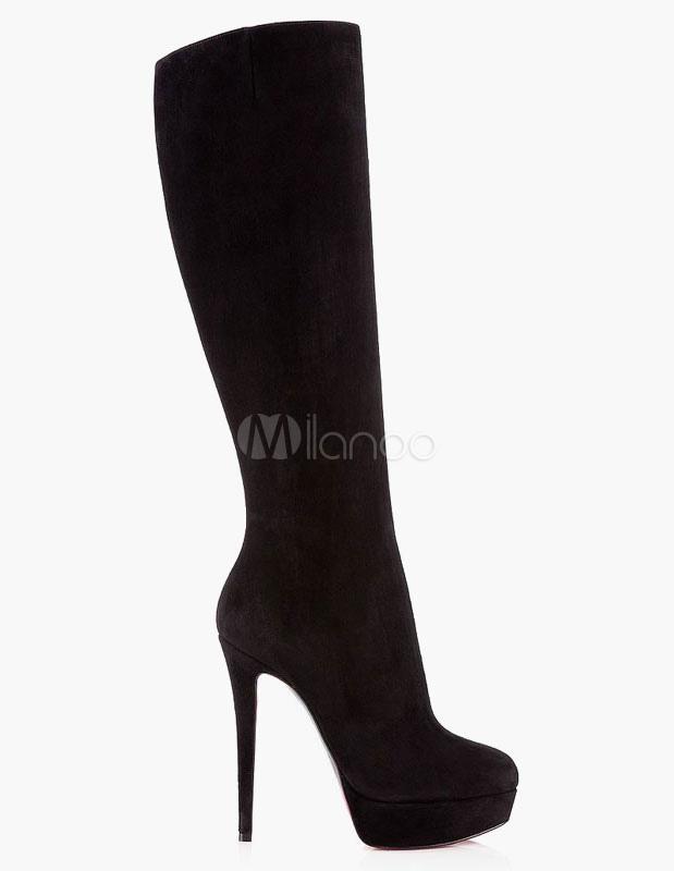 online moderno ed elegante nella moda design raffinato Stivali 2019 In Pelle Scamosciata Con Tacco Alto Stivali Con Tacco Alto A  Punta In Punta