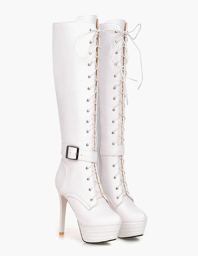 Patentes PU plataforma botas de rodilla longitud para mujeres uEwcEcSm6