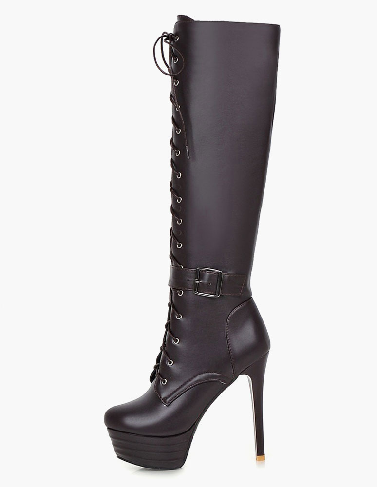 Patent PU Platform Knee Length Boots for Women