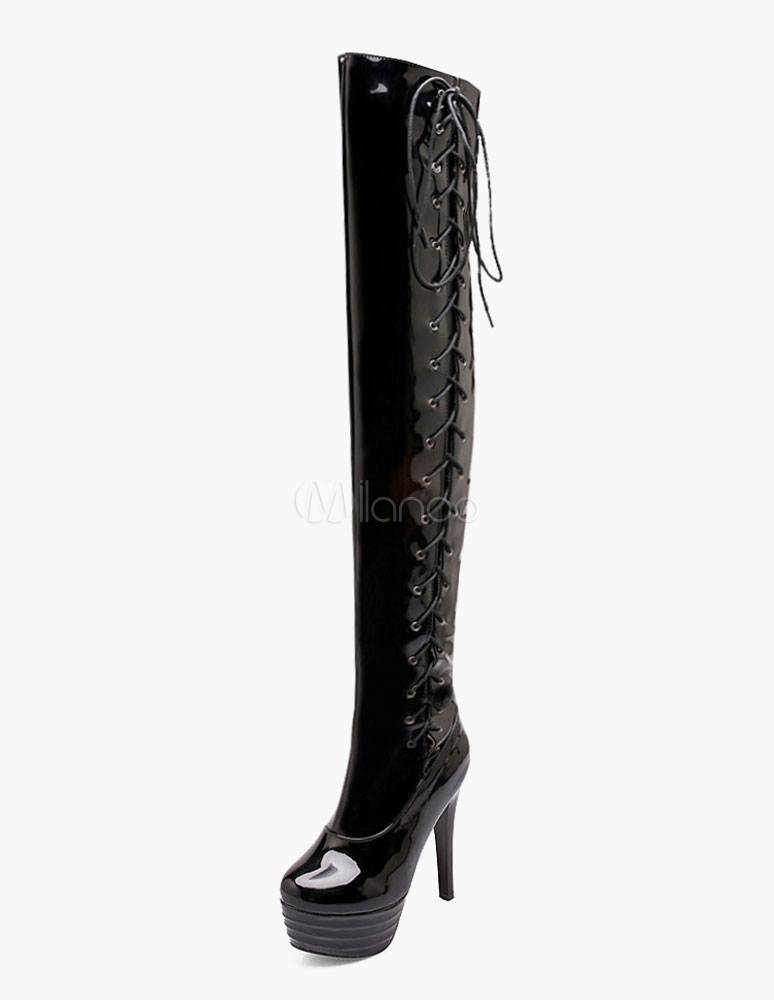 Over Knee Boots High Heel Black Platform Patent PU Lace Up Thigh High Boots