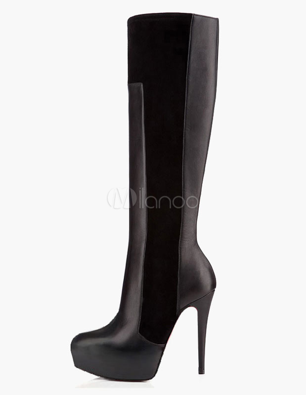 Round Toe Platform Stiletto Heel PU Leather Knee Length Boots