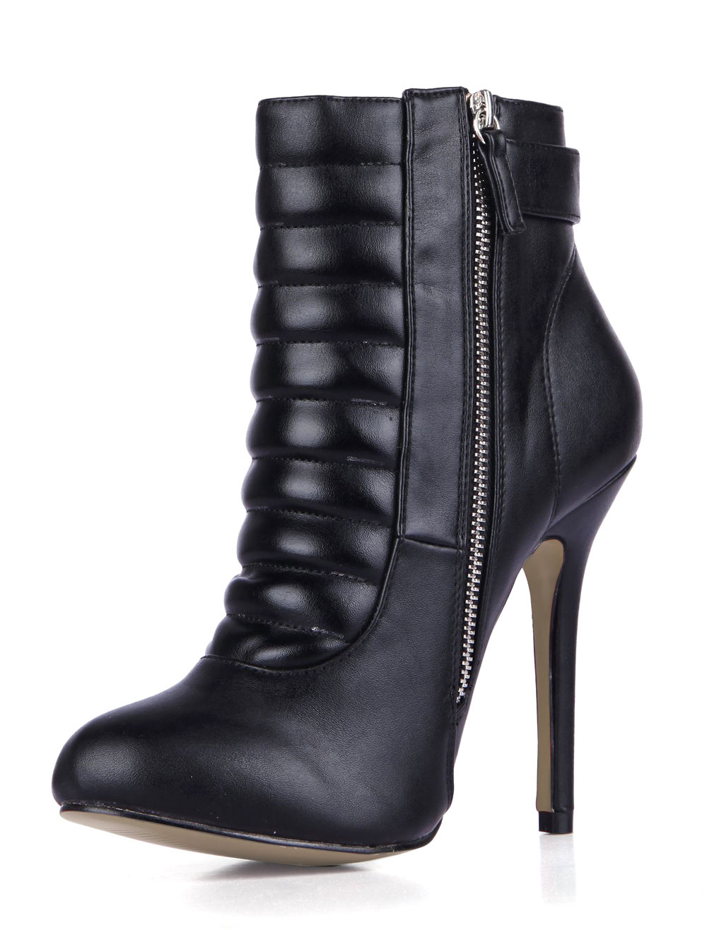 PU Leather Zipper Buckled Booties
