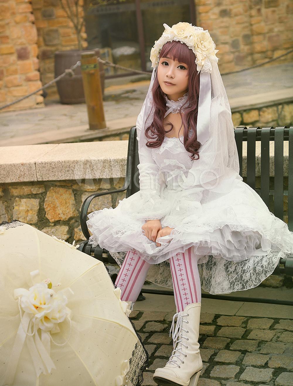 Glamourös Lolita Kleid mit U-Ausschnitt und langen Ärmeln Lolita ...