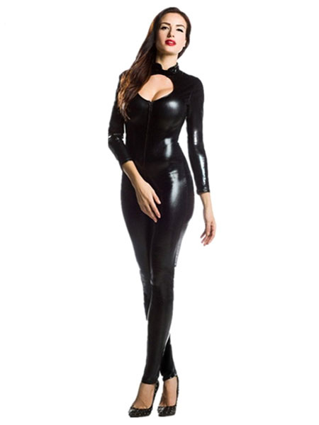 Halloween Black Zentai Cut  Out Sexy Costume Cosplay Shiny Metallic Jumpsuit for Women Halloween