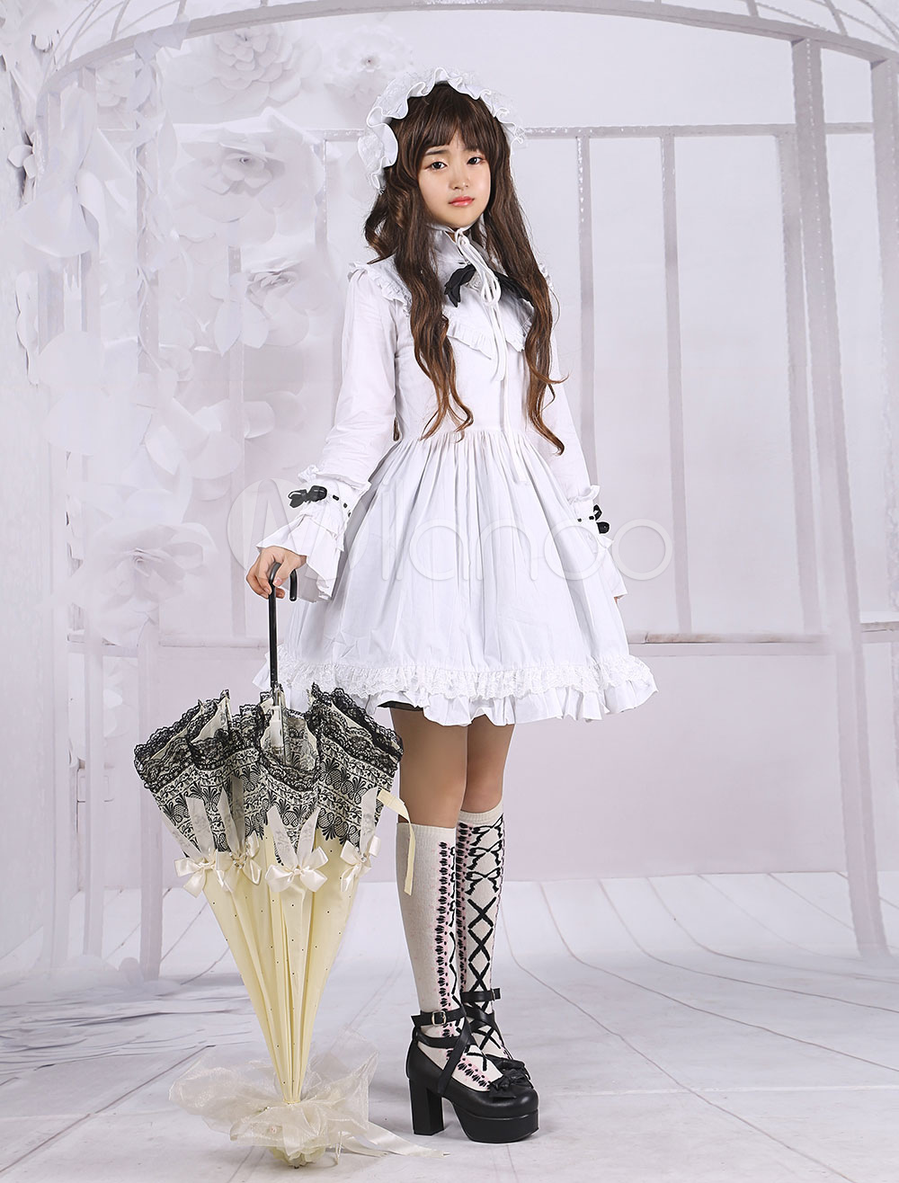 Buy Cotton White Long Sleeves Blouse And Black Cotton Punk Lolita Skirt for $79.19 in Milanoo store