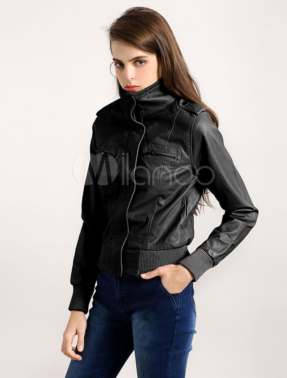 Buy Women Leather Jacket Black Motorcycle Jacket Long Sleeve Zipper Biker Jacket for $29.99 in Milanoo store