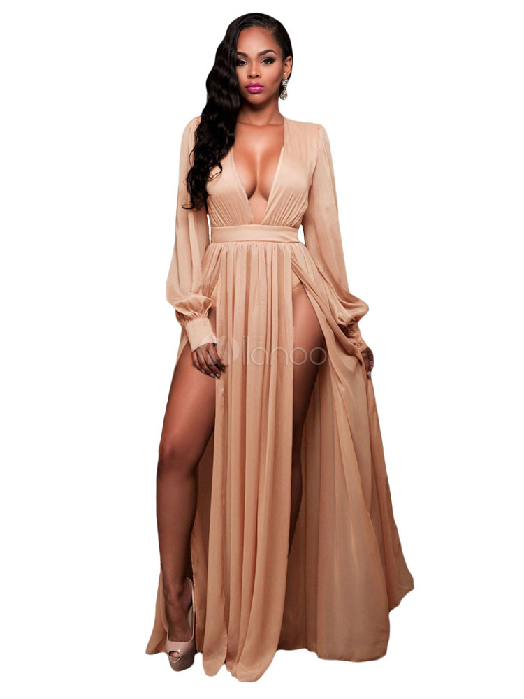 Pleated Maxi Dress Plunging Neckline High Split Sexy Floor Length Dress  With Long Sleeve For Women ...