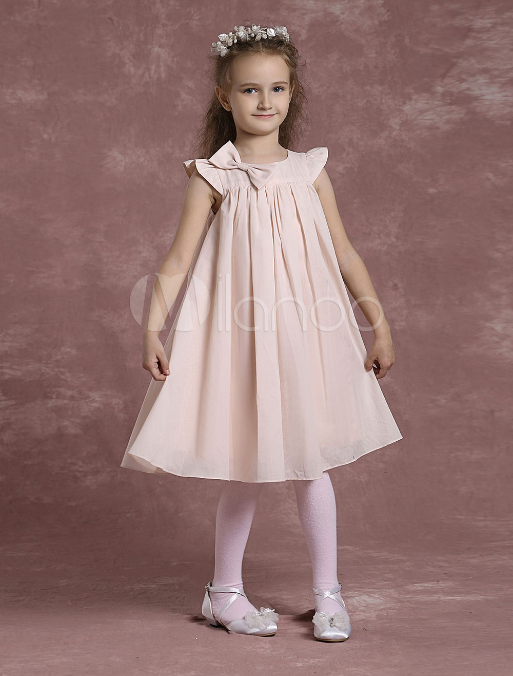 Blush Pink Flower Girl Dress Boho Ruffle Cotton Cap Sleeves Short Kids Dresses