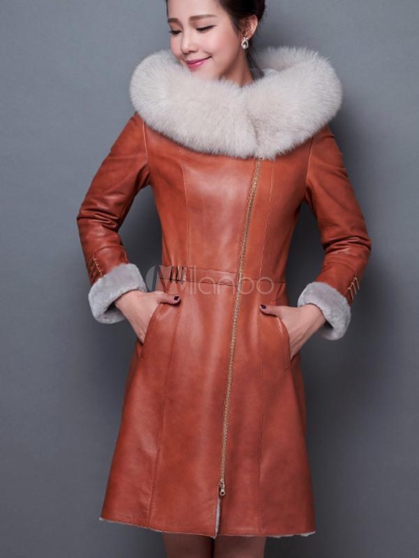 Manteau à Capuchon Fausse Fourrure Manches Longues à Capuche Simili Cuir Manteau Pour Femmes