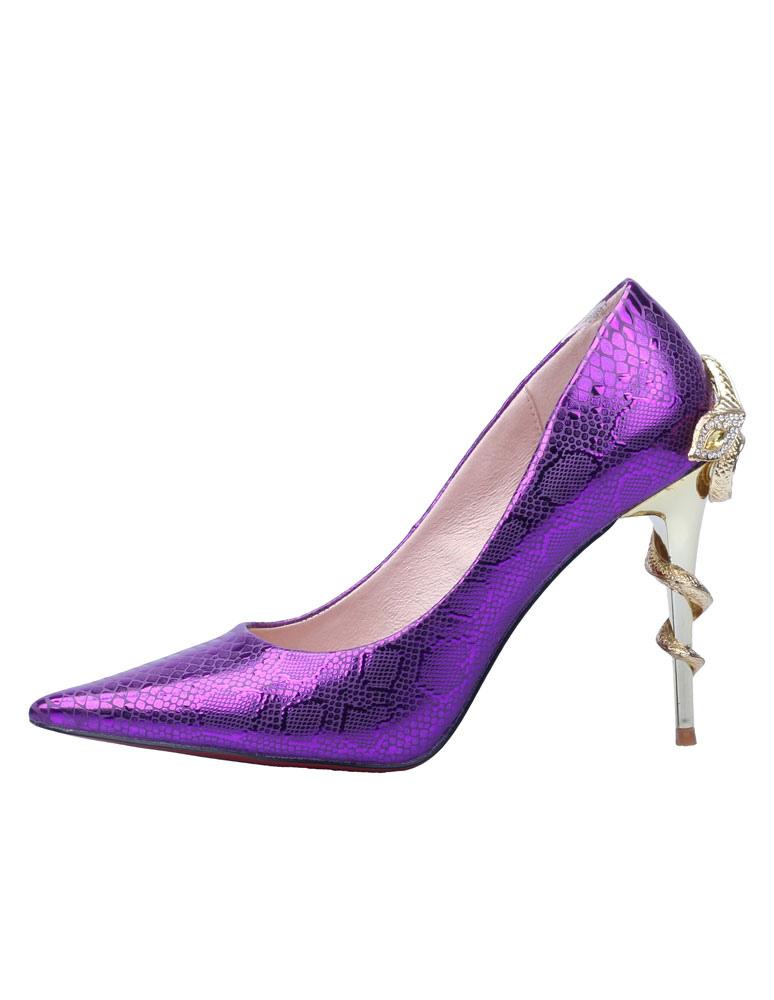 Escarpins à bout pointu en cuir verni violet avec serpent -No.1 ...
