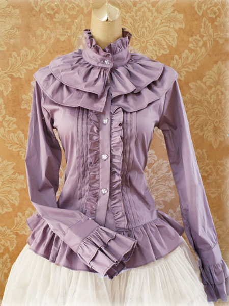Sweet Cotton Lolita Blouse Long Sleeves Ruffles Stand Collar