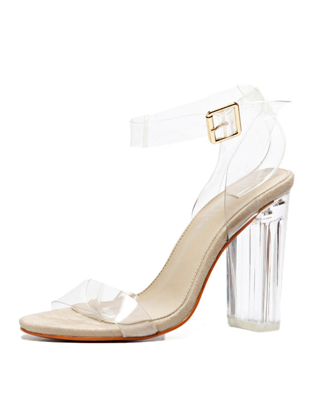 Transparent Dress Sandals High Heel Sandals Women Open Toe Chunky Heel Ankle Strap Jelly Sandals