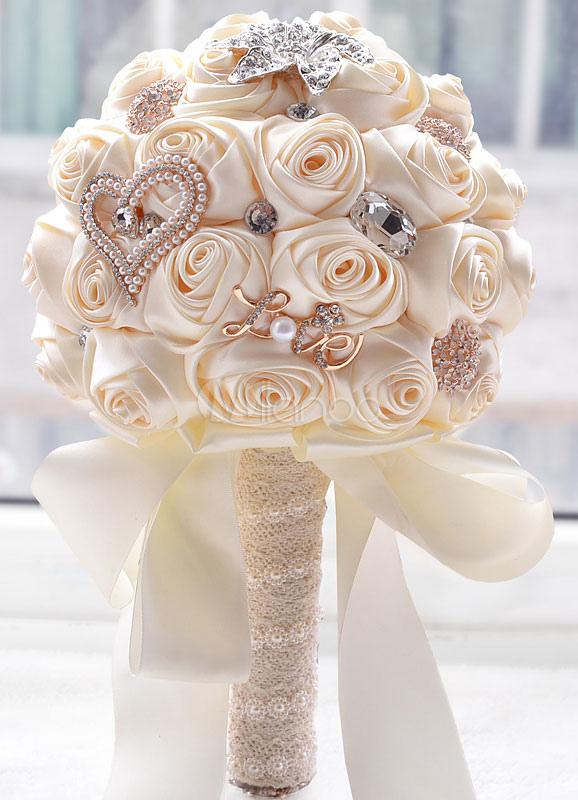 Bouquet Sposa Con Perle.Bouquet Da Sposa In Raso Con Strass E Perline Accessorio