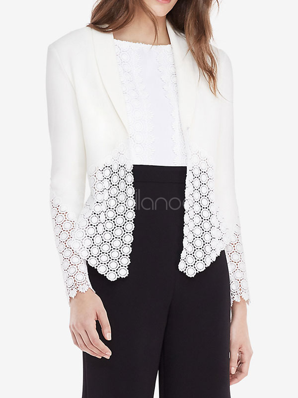 Women White Blazer Spring Jacket Long Sleeve Cut Out Open Front Lightweight Jacket Cheap clothes, free shipping worldwide