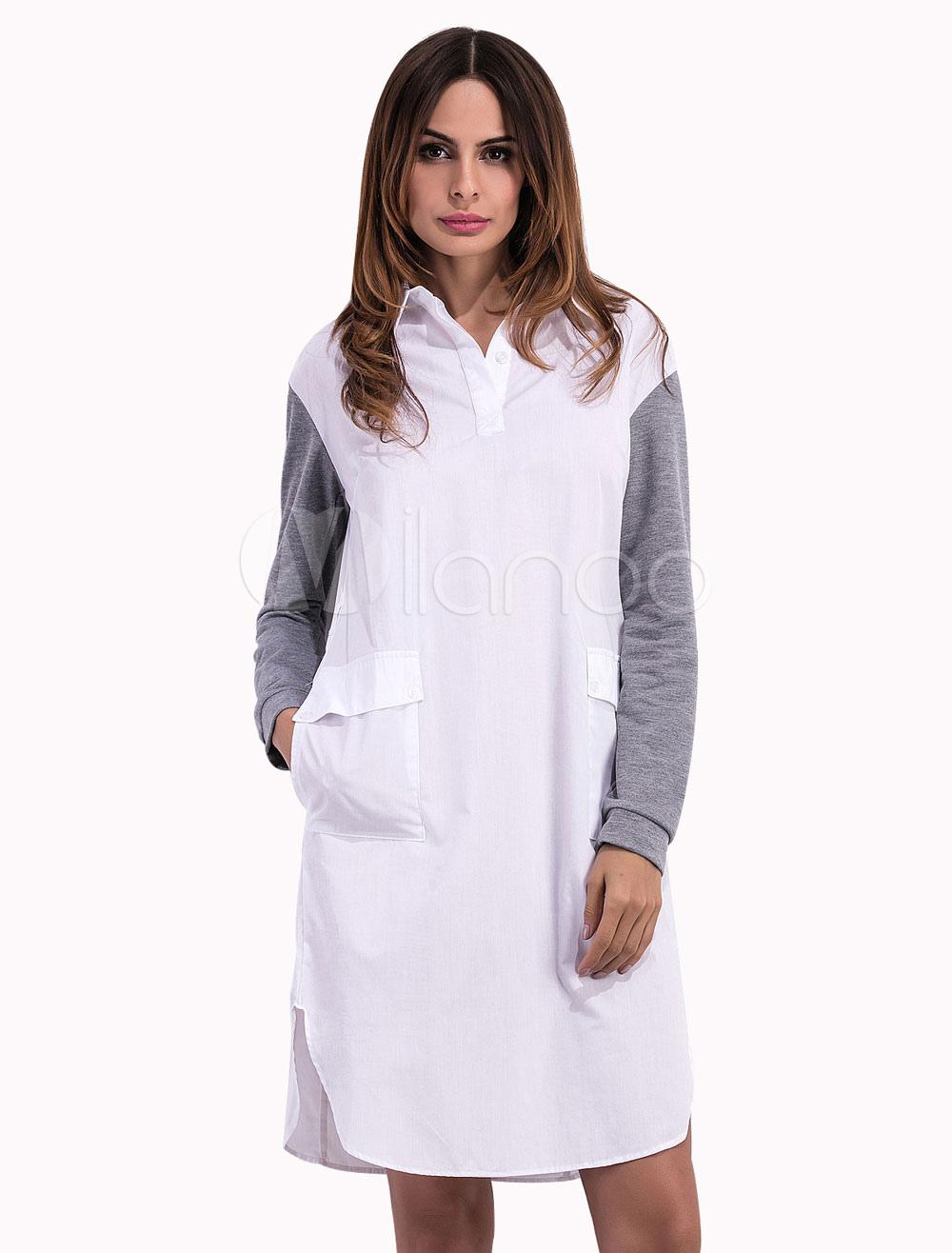 Pour Coton Poche Blouse Grande Casual Taille Femmes Chemise Blanche vNnw8m0yO