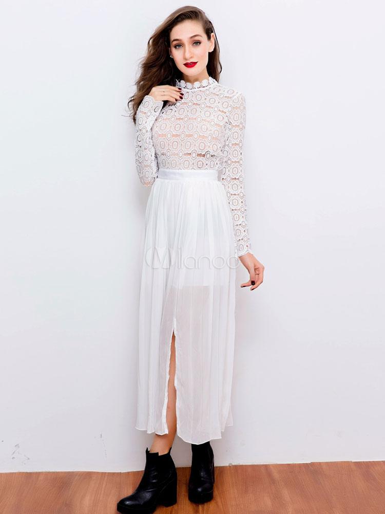 f5b97b984b1f Lange weiße Spitze Kleid Chiffon Stand Kragen Langarm Schlitz schneiden Sie  Maxi-Kleid für Frauen