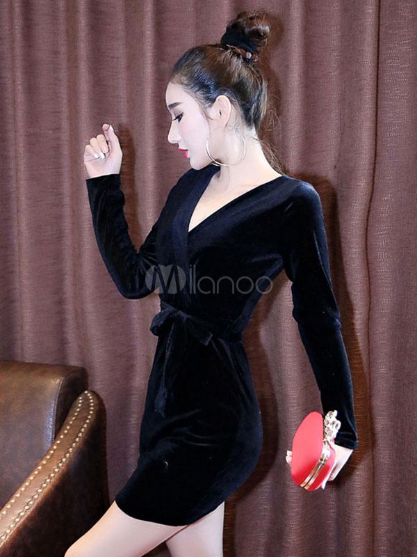 9a1ce5745 ... Vestido rosa Bodycon veludo V pescoço manga longa renda vestido bainha  de ajuste fino-No ...