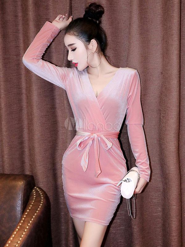 4548d2a28 Vestido rosa Bodycon veludo V pescoço manga longa renda vestido bainha de  ajuste fino-No ...