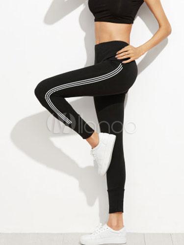 High Waist Leggings Women's Black Printed Elastic Fitness Yoga Pants