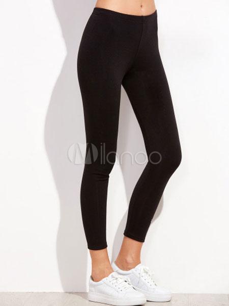 Black Yoga Pants Elastic Waist Embroidered Cotton Skinny Leggings For Women