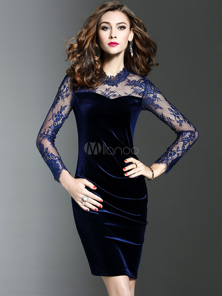 Velvet Bodycon Dress Illusion Sleeve Medium Length Dark Navy Sheath Dress Cheap clothes, free shipping worldwide