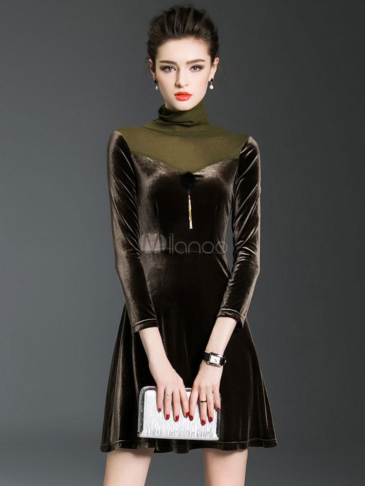 High Collar Skater Dress Velvet Long Sleeve Mesh Patchwork Flare Dress For  Women-No. 1d647c31a