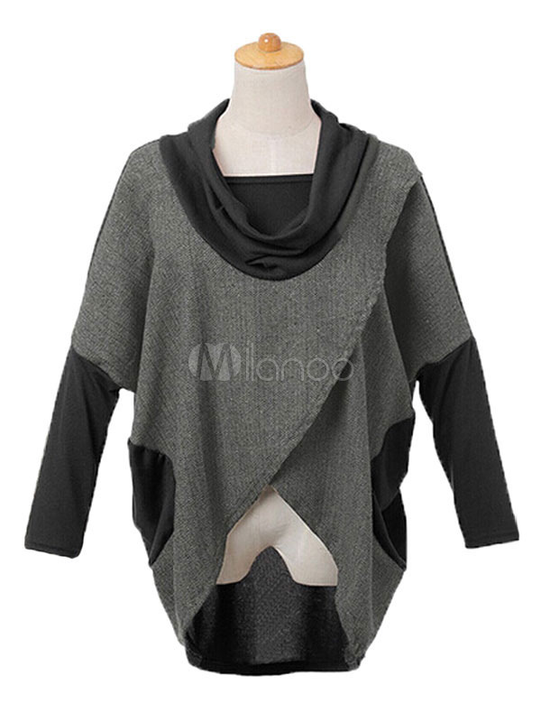 Long Sleeve T-shirts Women's High Low Cowl Neck 2 Colors Patchwork Casual Tshirt