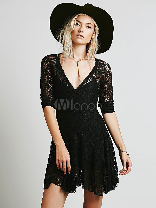 Black Lace Dress V Neck 3/4 Length Sleeve Pleated Slim Fit Skater Dress Cheap clothes, free shipping worldwide