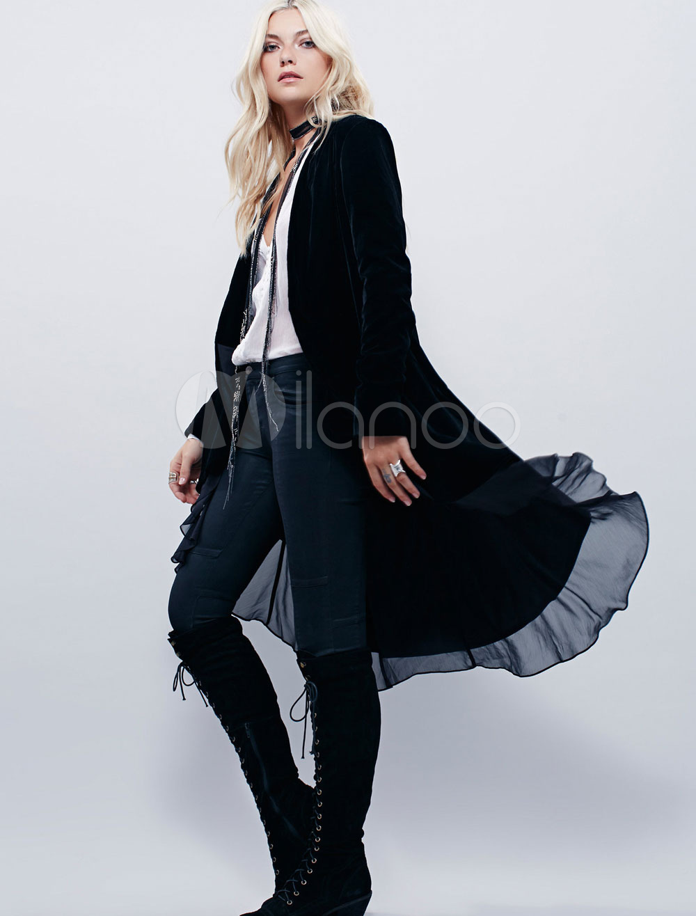 Velvet Black Coat Women's Ruffle Tiered Long Sleeve Casual Longline Cardigan Coat Cheap clothes, free shipping worldwide