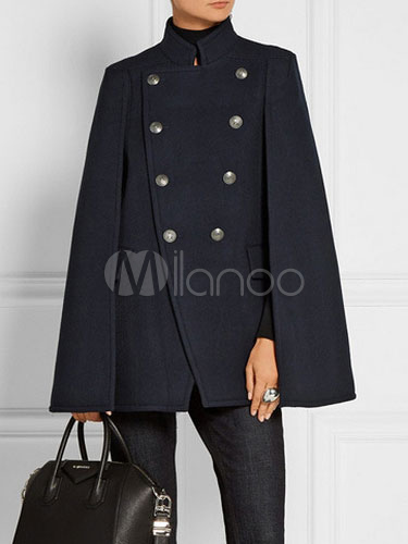 Women Poncho Peacoat Navy Woolen Double Breasted Cape Winter Coats Cheap clothes, free shipping worldwide