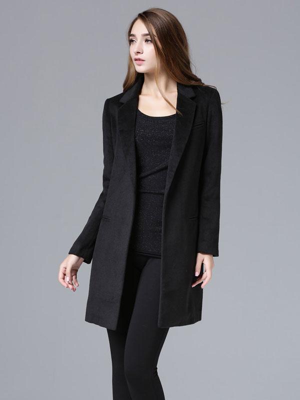 Black Wool Coat Long Sleeve Women's Suit Collar Slim Fit Winter Coat