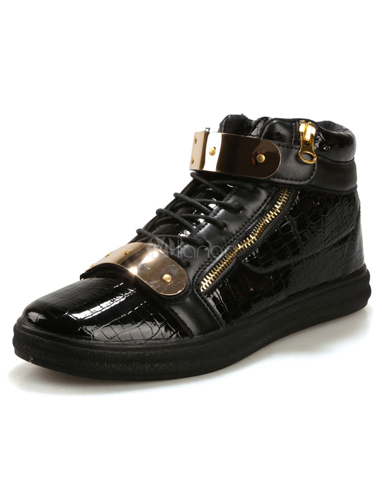Buy Black Skate Shoes Lace Up Solid Color Metal Buckle Fashion Casual Shoes For Men for $23.74 in Milanoo store