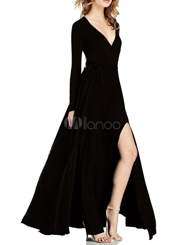Buy Black Maxi Dress V Neck Long Sleeve Pleated Slit Slim Fit Long Dress For Women for $36.79 in Milanoo store