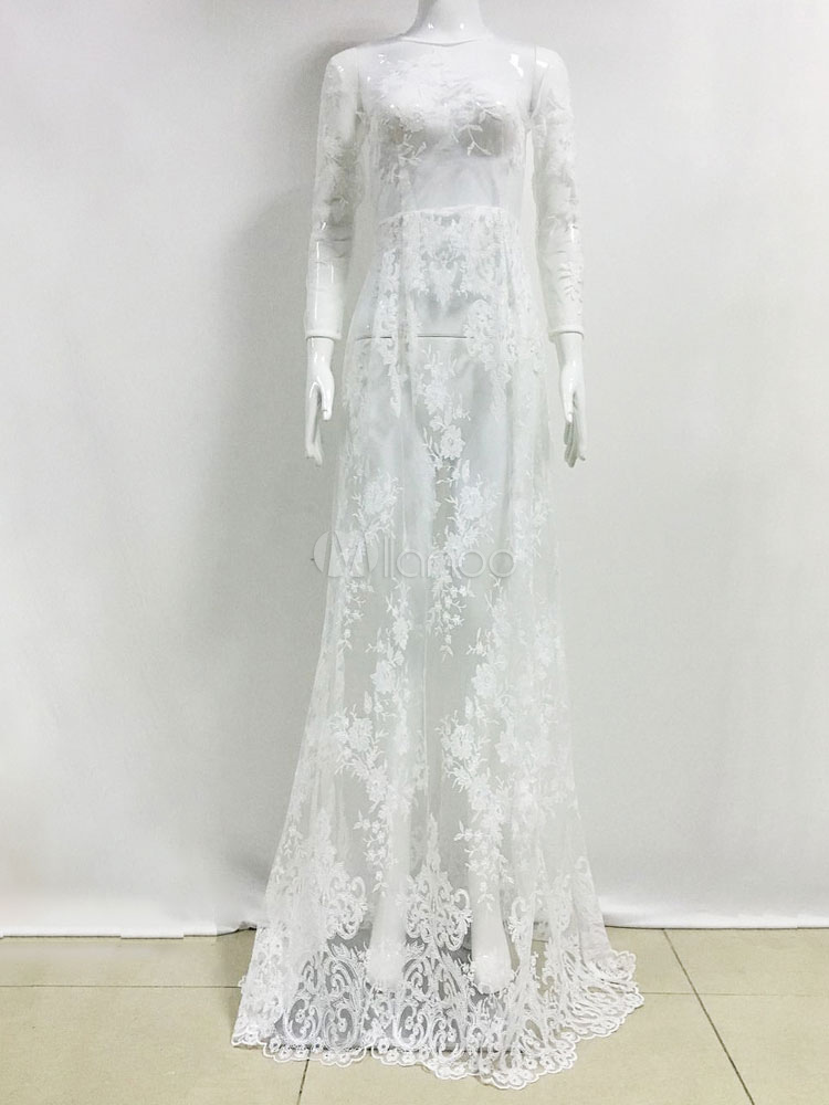 660af6142dd1d ... White Lace Maxi Dress Round Neck Illusion Three Quarter Length Sleeve  Semi Sheer Sexy Party Dress ...